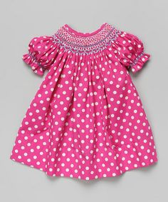 Another great find on #zulily! Pink Polka Dot Bishop Dress - Infant & Toddler by Smocked or Not #zulilyfinds