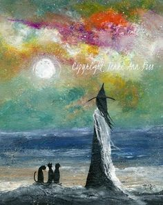 witch Folk Art painting | Orig OOAK Painting WITCH CAT OCEAN SHORE HALLOWEEN GOTHIC FOLK ART ...