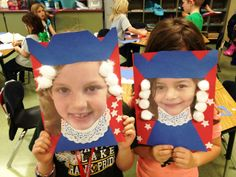 Examples of two students' finished George Washington projects using their own head shots.