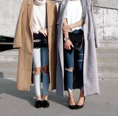 camel lilac gray coat + white turtleneck sweater shirt + ripped skinny jeans + black loafers + pointed toe heels