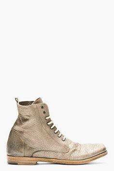 MARSÈLL Pewter Metallic Leather Boots | SSENSE