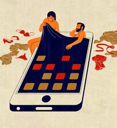 Joey Guidone - Your spouse is cheating on you. Editorial, Surrealism, Pop Surrealism, Conceptual, Design, Poster, Advertising, Infidelity, Technology, Relationship, Couple, Lovers, Betrayal, Passion, Bed, Smartphone