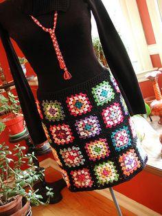 granny-square skirt #crochet