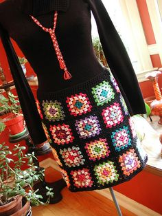 granny-square skirt #crochet
