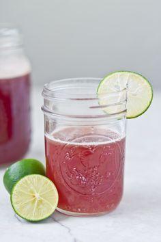 Tart Cherry Limeade {A Homemade Sports Drink}- all natural homemade sports drink made with no added sugar!
