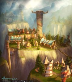 Thunder Bluff, city of the Tauren Race in Warcraft