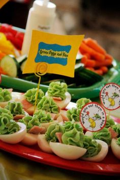 Green Eggs  Ham - A Dr. Seuss Party idea - A piece of bacon would be great!  cc: @Morgan Scott