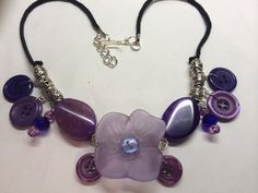 Purple Flower Button Necklace by BornAgainButtons on Etsy, $15.00