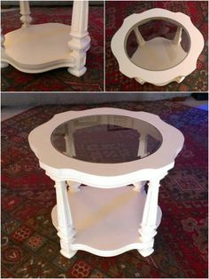 Glass Table, A Table, House Renos, Fun Projects, End Tables, Painted Furniture, Round Glass, Nest, Amy