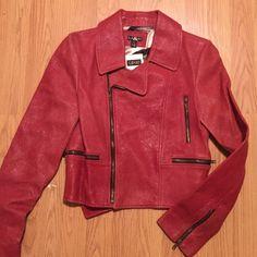 Cracked Leather moto jacket with satin lining Leather moto jacket in antique red. Like a burnt red really. NWT. Satin lining Jackets & Coats