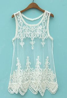 21.99 USD ]Black White Sheer Embroidery Lace Mesh Tank Top