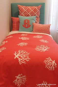 custom coral coral patterned duvet and pillows