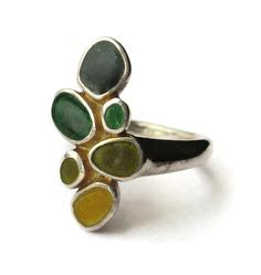 SOLD. Enamel ring, abstract design, Joid'art of Barcelona Spain, vintage Spanish sterling silver 925, yellows and greens, fall autumnal ring. https://www.etsy.com/uk/listing/467045232/enamel-ring-abstract-design-joidart-of