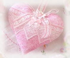 Heart Sachet 5 inch Sachet Heart Pink and White by CharlotteStyle