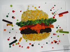 "so maybe not a hamburger but soon i'm gonna do an ""impressionist"" crayon dripping project"