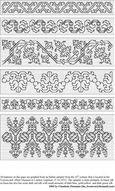 Redwork Embroidery (I think that, out of these patterns, the bottom one is my favorite. Blackwork Cross Stitch, Cross Stitch Borders, Cross Stitch Designs, Cross Stitching, Cross Stitch Patterns, Kasuti Embroidery, Folk Embroidery, Cross Stitch Embroidery, Embroidery Patterns