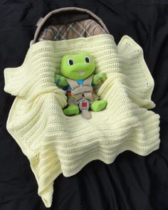 Simply Sweet Baby Car Seat Blanket - Has openings for Car Seat / Stroller straps. Crochet Pattern.