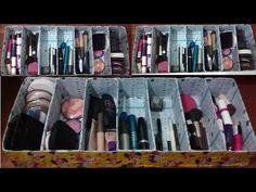 Como Fazer organizador de maquiagem (gavetas UO) com a Caixa de leite !!! - Phimtk