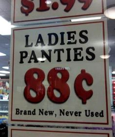 Never used Panties for Sale  if they were used, how much would they be then? Lol
