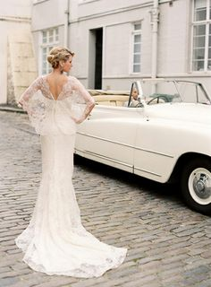 #fashion, wedding day, married, couples, love, relationships, old school car, vintage, wedding dress