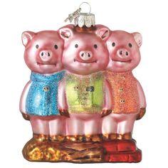 Three Little Pigs Glass Christmas Ornament