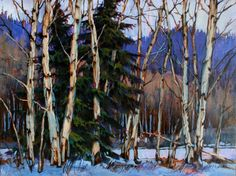 Looks Like You're Stuck, by David Langevin Impressionist Artists, Tree Forest, Winter Trees, Canadian Artists, Old Master, Learn To Paint, Tree Art, Landscape Paintings, Landscapes
