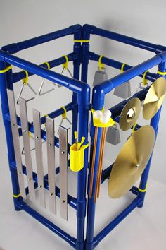 3D printed connections allow this to fold completely flat! Outdoor Music Station: Xylophones Wind Chimes Triangles Outdoor Playground - Music Wall - Sensory Wall - Montessori Toys - Waldorf Wood: Xylophones, Triangles, Cymbal, and Cowbells
