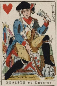 "French Revolution playing card issued 1793, Jack of Hearts becomes ""Equality of Duties"" with the motto ""Security"""