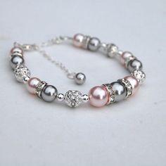 Pulsera de la perla rosa y plata rosa rubor rosado y por AMIdesigns #diyjewelry