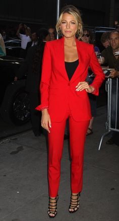 Red suit - black tank and strappy heels: Blake Lively