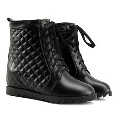 Tie Up Quilted Argyle Pattern Ankle Boots #>=#>=#>=#>=#> Click on the pin to check out discount price, color, size, shipping, etc. Save and like it!