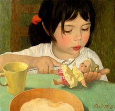 """Masha, Eat Porridge"" by Tatiana Deriy (1973, Russian)"