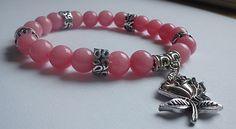'Fondness' -rosequartz mineral bracelet  6mm rosequartz bracelet with rose trinket   http://www.meska.hu/ProductView/index/998849