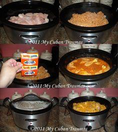 My Cuban Traumas: Crock Pot Arroz con Pollo - Arroz con Pollo en Olla de Cocción Lenta