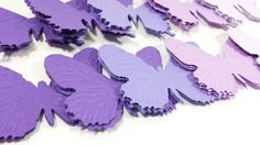 20 Large Embossed Purple and Lavender  Paper Butterflies, Butterfly Party Decor, Butterfly Baby Shower by thingsbyjuju