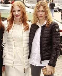 Marie-Josée Croze and Jessica Chastain attend the Moncler Gamme Rouge Fall/Winter 2013 Ready-to-Wear show as part of Paris Fashion Week on March 6, 2013 in Paris, France