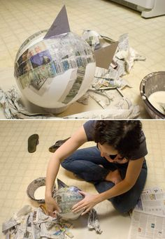 Place the paper mache on the fish form