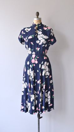 Second Spring dress rayon 1940s dress vintage 40s by DearGolden