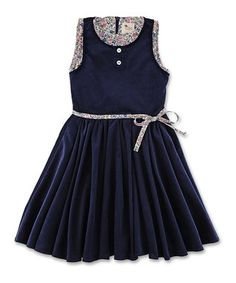 Blue Corduroy Floral Dress - Toddler & Girls