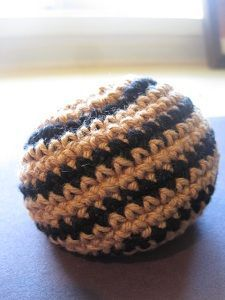 How to crochet a hacky sack--I didn't need a hacky sack, but the same stitch makes an awesome indoor frisbee!