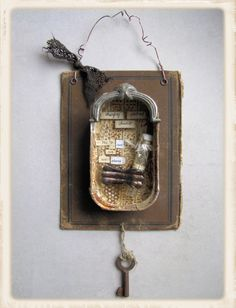 Assemblage, tin, book, key, wire
