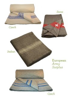 European Army Surplus Wool Blankets: Great to keep in the car!