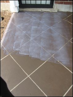 Well, we finally finished staining our concrete patio to look like tile! This was is what our concrete patio looked like before. Dull an. Painted Concrete Floors, Painting Concrete, Concrete Tiles, Stained Concrete, Concrete Patio, Concrete Staining, Concrete Resurfacing, Pavers Patio, Patio Stone