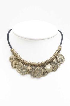 Collier Boho pièces de métal vieilli