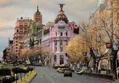Skyline, Great Photographers, Madrid, Spain, Street View, Scene, City, Photography, Watercolour