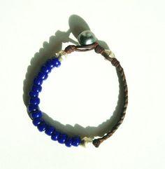 Perle di Tahiti Perla e blu su cuoio bracciale donna