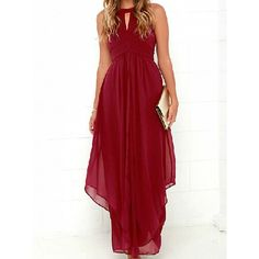 Choies Burgundy Halter Cut Out High Waist Ruched Chiffon Maxi Dress ($34) ❤ liked on Polyvore featuring dresses, gowns, red, red halter dress, halter maxi dress, burgundy gown, red ball gown and red gown
