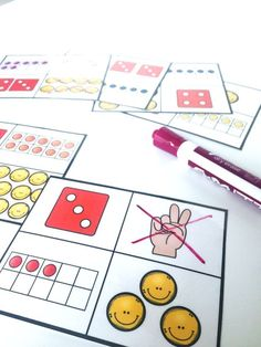 Student identify which number doesn't belong out of a set of 4 numbers. Numbers are represented through tens frames counting dice and fingers. Great for early finishers or as a math center for students to practice identifying quantities to Numbers Kindergarten, Math Numbers, Preschool Math, Math Classroom, Teaching Math, Decomposing Numbers, Kindergarten Lessons, Teaching Ideas, Math For Kids
