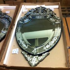 Shield Shaped Venetian Beveled Etched Wall Mirror