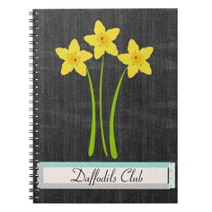 Daffodils Club Gardener Florist Denim Notebook, personalize it adding your text.